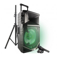 Altec Lansing THUNDER 15 Portable Battery powered PA speaker system (Bluetooth, 20hrs Battery, Wired Microphone, Retractable handle & Wheels)