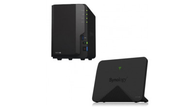 Synology DS218+ NAS x 1 + Synology Mesh Router MR2200ac x 1 - Bundle and Save!
