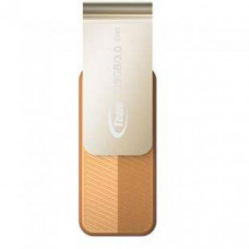 Team Group USB Drive 128GB, C143, USB3.0, Brown & Silver, Rotating, Capless, READ 25MB/s, 15g, Lifetime Warranty