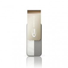 Team Group USB Drive 32GB, C143, USB3.0, White & Silver, Rotating, Capless, READ 25MB/s Read, 15g, Lifetime Warranty