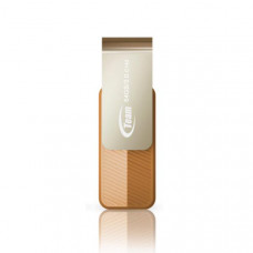 Team Group USB Drive 64GB, C143, USB3.0, Brown & Silver, Rotating, Capless, READ 25MB/s, 15g, Lifetime Warranty