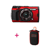 Olympus TG-6 Red Camera with CSCH-107 Carabine Hook Camera Case