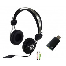 Shintaro Stereo Headset with Inline Microphone plus USB Audio Adapter with 3.5mm Headphone and Microphone Jack
