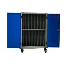 Gilkon LCMT-30 - 30 Bay PC Vault Trolley w/ Eco System - Blue Doors