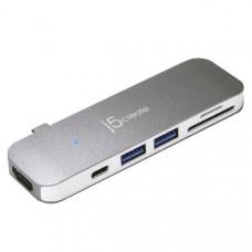 J5ceate JCD386 USB-C 7-in-1 UltraDrive Mini Dock (USB-C to 4K HDMI, 2 x USB-A 3.0, SD /microSD card reader, USB-C power delivery 3.0)