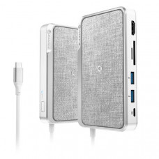ALOGIC USB-C Dock Wave  ALL-IN-ONE / USB-C Hub with Power Delivery, Power Bank & Qi Wireless Charger - Silver