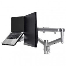 Atdec AWM Dual Arm Solution - Dynamic Arms  - 135mm post - F Clamp - Silver w/ Notebook Tray