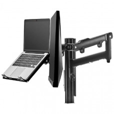 Atdec AWM Dual monitor arm solution - dynamic arms  - 135mm post - Grommet - black with a note book tray