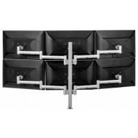 Atdec Six Monitor Arm 750mm Post Desk Mount. Max load: 0-9kg per arm (12kg middle arm) - Silver