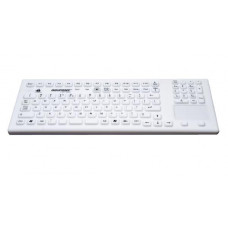 GETT InduKeys - Magnetic Sanitizable Silicone USB Keyboard with Touchpad (IP68 Rated) - White