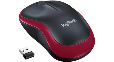 Logitech Wireless Mouse M185, 3 Button, Optical, 1000 DPI, USB Receiver, Scroll Wheel, Colour: Red 2.4GHz - Limited Stock
