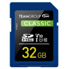 Team Classic SD Memory Card -32 GB - UHS (Ultra) Speed Class 1(U1). Supports Video Speed Class 10(V10).