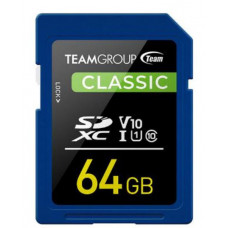 Team Classic SD Memory Card -64 GB.  UHS (Ultra) Speed Class 1(U1). Supports Video Speed Class 10(V10).