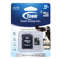 Team Group Memory Card microSDHC 32GB, Class 10, 14MB/s Write*, with SD Adapter, Lifetime Warranty