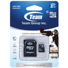 Team Group Memory Card microSDHC 4GB, Class 10, 14MB/s Write*, with SD Adapter, Lifetime Warranty
