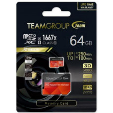 Team Group Xtreem 64GB Micro SDXC UHS-II U3, Read up to 250MB/s Write up to 100MB/s