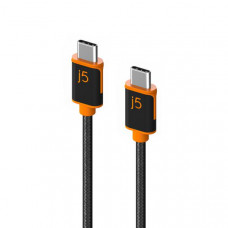 J5create JUCX24 USB-C to USB-C Sync & Charge Cable 180cm, Braided Polyester (Supports USB 2.0 with speeds up to 480Mbps, output up to 3A)