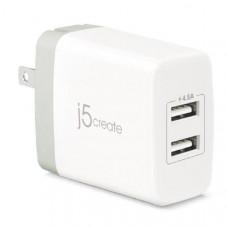 J5create JUP23 2-PORT USB SUPER CHARGER AC 100-240V WALL OUTPUT 5V / 2.4A (max)