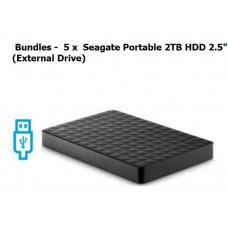 Bundle - Buy Bulk and Save $$$  5 x  Seagate Portable HDD 2.5 inch USB3 2TB External / USB Powered