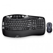Logitech Wireless Keyboard & Mouse Combo, MK550 Wave, Black, USB Receiver (Powered by 4xAA, included)
