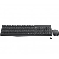Logitech Wireless Keyboard & Mouse Combo, MK235, Black, USB Receiver, Full Size.