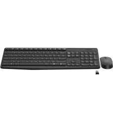 Logitech Wireless Keyboard & Mouse Combo, MK235, Black, USB Receiver, Full Size.