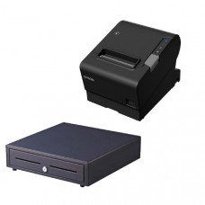 Epson TM-T88VI-241 Thermal Receipt Printer Built-in Ethernet, USB, Serial, With PSU & Alogic 1M power cable,  bundled with EC-410 Cash Drawer