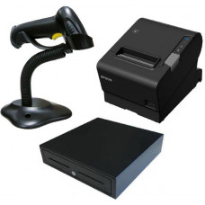 Epson TM-T88VI-241 Thermal Receipt Printer Built-in Ethernet, USB, Serial, With PSU & 1M power cable , bundled with Cash Drawer and barcode scanner.