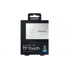 Samsung T7 Touch Portable SSD 2TB,USB3.2, Type-C, R/W(Max) 1,050MB/s, Aluminium Case, Fingerprint Password Security, Silver, 3 Years Warranty