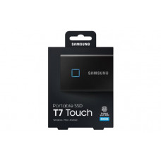 Samsung T7 Touch Portable SSD 500GB ,USB3.2, Type-C, R/W(Max) 1,050MB/s, Aluminium Case, Fingerprint Password Security, Black, 3 Years Warranty